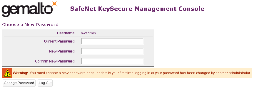 Logging In to the Key Management Server Management Interface